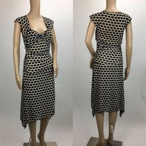 MAX STUDIO Tan With Black Polka Dots Dress Size S
